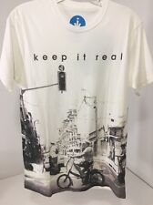 ISRAEL VIBES MEN'S KEEP IT REAL CITY OF JAFFA S/S T SHIRT WHITE SMALL NWT $40
