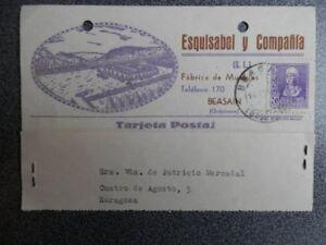 TARJETA PUBLICITARIA BEASAIN GUIPUZCOA - ESQUISABEL Y Cª FÁBRICA MUEBLE AÑO 1940