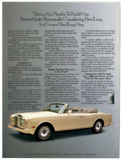 1991 ROLLS-ROYCE Convertible Vintage Original Print AD - White car photo English