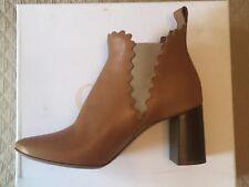 "Chloe Tan Lauren Scalloped Ankle Boots Booties Stacked 3"" Heels Size 39 1/2 NIB"