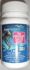 BLUE HORIZONS AQUABLANC  ACTIVE OXYGEN WATER 3 WAY TEST STRIPS