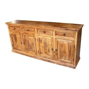 Classic Evergreen Sheesham Wood Solid Wood Sideboard With Doors & Drawer Natural