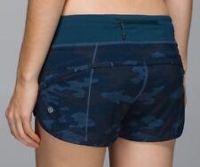 Lululemon Run Speed Shorts Blue Oil Slick Camo Alberta Lake NEW Size 10