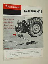 Prospectus Faucheuse NEW HOLLAND 445 Tracteur Tractor Traktor Prospekt Brochure
