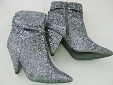 SILVER PEWTER GLITTER METALLIC PIXIE Pointy ANKLE BOOTS Pyramid Heels 5 MARANT