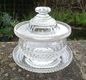 ANTIQUE IRISH WATERFORD CUT GLASS CRYSTAL SWEATMEAT JAR WITH ORIGINAL DISH