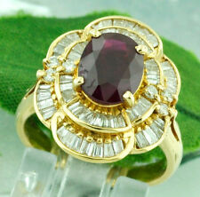 14k Solid Yellow Gold Natural Diamond & Oval Shape Ruby Ring 3.42 ct baguette