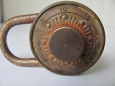 Antique Dudley Brass Combination Lock CR 1920 Chicago ILL USA  -No Combination