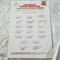 Australian Cricket Tour 1989 - XXXX - ASHE'S Signed Team Sheet - Deans Jones