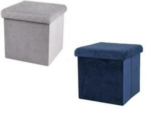 Ottoman Storage Box Velvet Seat Chair Footstool Storage Box Folding