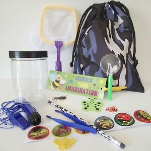 KIDS Bug Catcher KIT + Camo BAG insect Magnifying Glass torch camouflage 16 toys