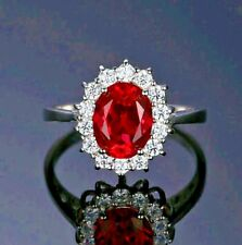 White gold finish Ruby princess created diamond oval ring