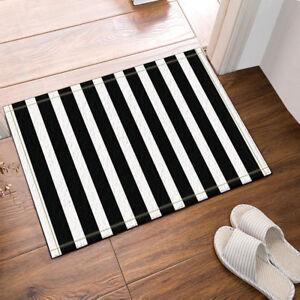 White and Black Stripes Kitchen mat Bathmat Bathroom Shower DoorMat 16x24 Inch