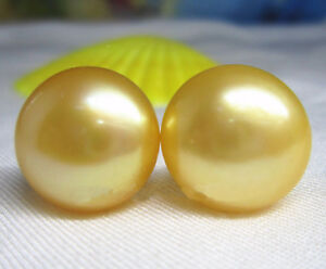 AAA 12-13mm natural south sea Gold bread pearl stud earrings 14k Yellow Gold