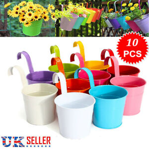 10 Colors Flower Pot Hanging Pots Balcony Garden Plant Metal Hook Iron Planter