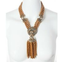 Heidi Daus Lion Queen Necklace 3-Strand Tassel Crystal Necklace GOLD VERSION