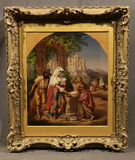 19th Century German Oil Painting by Matthaus Poessenbacher Rebecca at the Well