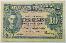 1941 Malaya KGVl 10cents banknote very nice