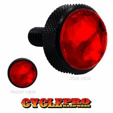 Vivid Black Billet Knurled Thumb Screw Seat Bolt for 99 - 16 Touring Red Gem