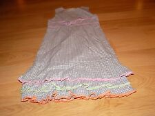 Girl's Size 8 The Children's Place Gray White Pink Plaid Ruffled Hem Dress EUC
