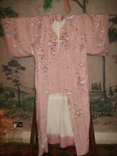 vintage 70s pink bird floral long silk lined kimono jacket Haori Japenese