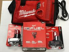 "Milwaukee 2555-22 M12 FUEL Stubby Cordless 1/2"" Drive Impact Wrench (2) 6.0 KIT"