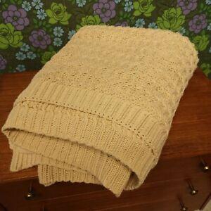Calvin Klein Cream/Beige Chunky Knitted Crochet Blanket / Throw / Bedspread