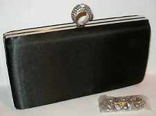 NEW Elegant Satin Rhinestone Clutch Bling Evening Bag Purse Party Chain Holiday