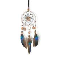 Mini Dream Catcher For Car Beaded Natural Feathers And Handmade P4B2