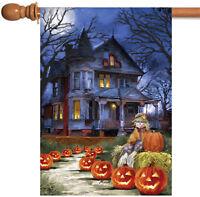 Toland Spooky Manor 28 x 40 Haunted Halloween Night Pumpkin Scarecrow House Flag