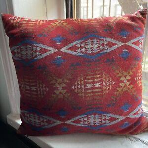 Pendleton Wool Throw Pillow Red Southwestern Aztec Native Pattern Design