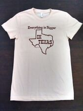American Apparel T-shirt Womens M Tan Everything is Bigger in Texas USA New