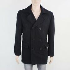 Jeff Banks Mens Size M Double Breasted Black Wool Jacket