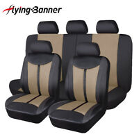 11pcs Universal car seat covers protectors brown pu leather mesh waterproof