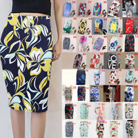 Vintage Summer Women Elegant Print High Waist Elastic Bodycon Pencil Skirt P0S4