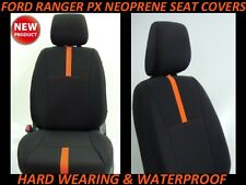 FITS FORD RANGER PX FRONT NEOPRENE SEAT COVERS FULL COVERAGE + MAP POCKETS X 2