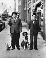 STAN LAUREL AND OLIVER HARDY WITH DOGS - 8X10 PUBLICITY PHOTO (CC809)