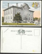 Old Canada Postcard - Windsor, Ontario - Court House, Patriotic Crest