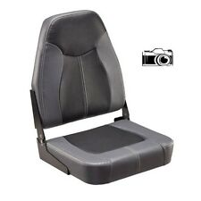 NEW Gray and Black Folding High-Back Boat Seat for Boating Fishing Pontoon Boats