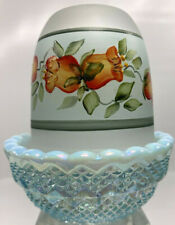 Mosser Iridescent Aqua Blue Satin Floral Fairy Lamp Signed