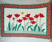 Vintage Tulip Applique Quilt Quilted Wall Hanging Spring Flowers Hand Stitched