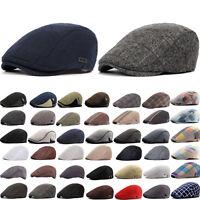 Men's Vintage Casual Flat Caps Berets Cabbie Driving Hats Golf Cap Newsboy Hat