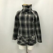 New Rip Curl Coat Size UK S Regular Black White Plaid Collared Winter 351293