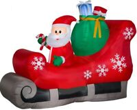 CHRISTMAS 7 FT SANTA SLED SLEIGH PRESENTS GIFTS  AIRBLOWN INFLATABLE YARD GEMMY