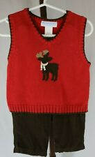Janie & Jack Baby Boys 2 Piece Holiday Christmas Vest Pants Outfit Size 6-12 Mo