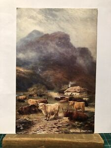"Postcard Highland Pastures ""Oilette"" by Raphael Tuck No. 9441"