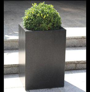2 x Terrazzo Blumenkübel, Quader, schwarz, Pflanztopf, Pflanzkübel, Blumentopf