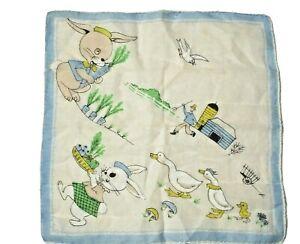 Pair of Vintage Cotton Handkerchief Bull Illustrations  Child Print  1950s Cotton Hankies