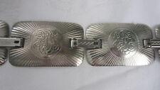 "Belt Sliver Tone Metal Panel Square Chain Belt Embossed Bohemian 31"" long"