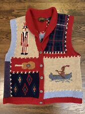 Vtg 90s Eddie Bauer Wool 100% Knit Vest Shawl Collar Sweater sz Mens M Womens L